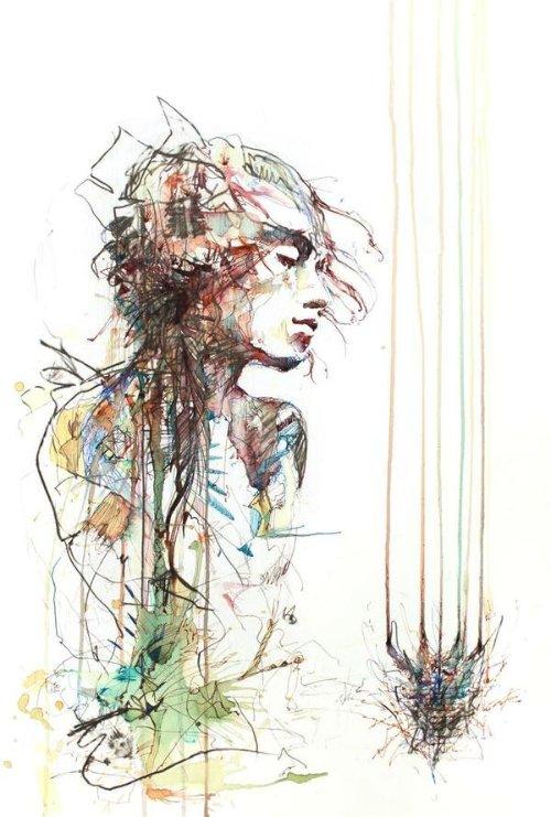 Carne Griffiths trabalha com tintas de caligrafias, grafite e alguns líquidos que você não espera ver em pinturas como vodka, chá e café. É assim que ele distorce nossa visão criando manipulações de imagens desenhadas a mão. Imagens essas que exploram a forma humana e a geometria de um jeito que combina o literal e o abstrato.