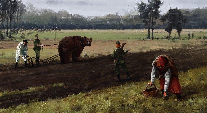 Jakub Rozalski é um artista que ilustra cenários retro futuristas onde robôs gigantes vivem entre seres humanos. Tudo se passa em algum lugar perto dos anos de 1920 e o constraste tecnológico com o visual agrário é bem interessante.
