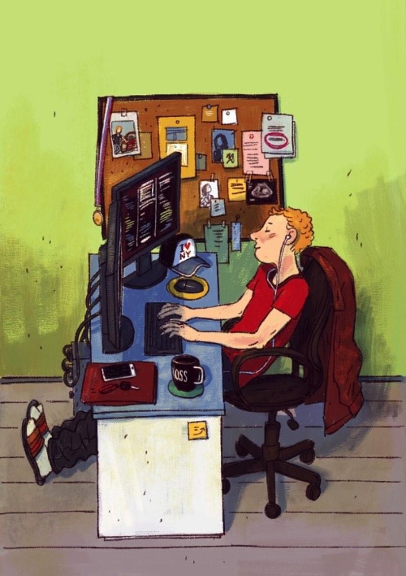 Dmitry Narozhny é um ilustrador russo baseado na Tailândia cujo portfólio é repleto de ótimos trabalhos. Nesse artigo aqui, resolvi publicar seu projeto IT-characters onde o ilustrador criou uma série de imagens focados nos clichês visuais da comunidade de tecnologia. As imagens abaixo irão ilustrar uma calendário da Devexperts, cada imagem para um mês diferente.