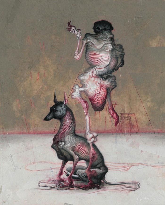 Allison Sommers cria cenários macabros em suas pinturas que vão sempre em direção ao metafísico e ao apocalíptico. As criaturas que ela cria, e que você pode ver logo abaixo, são os demônios da sua própria mente que ela põe para fora através de sua arte.
