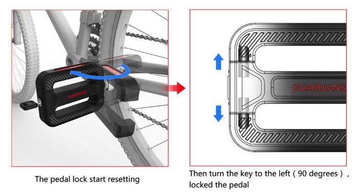 O Bicycle Guardians funciona de forma simples. O pedal da sua bicicleta tem o mesmo visual de antes mas, agora, ele tem uma parte que roda sobre um eixo e que vira em direção a estrutura da bicicleta e serve como uma trava naquele local, segurando o pedal na estrutura e na roda da bicicleta. A única coisa que muda no formato do pedal é a presença de uma fechadura. Só isso.