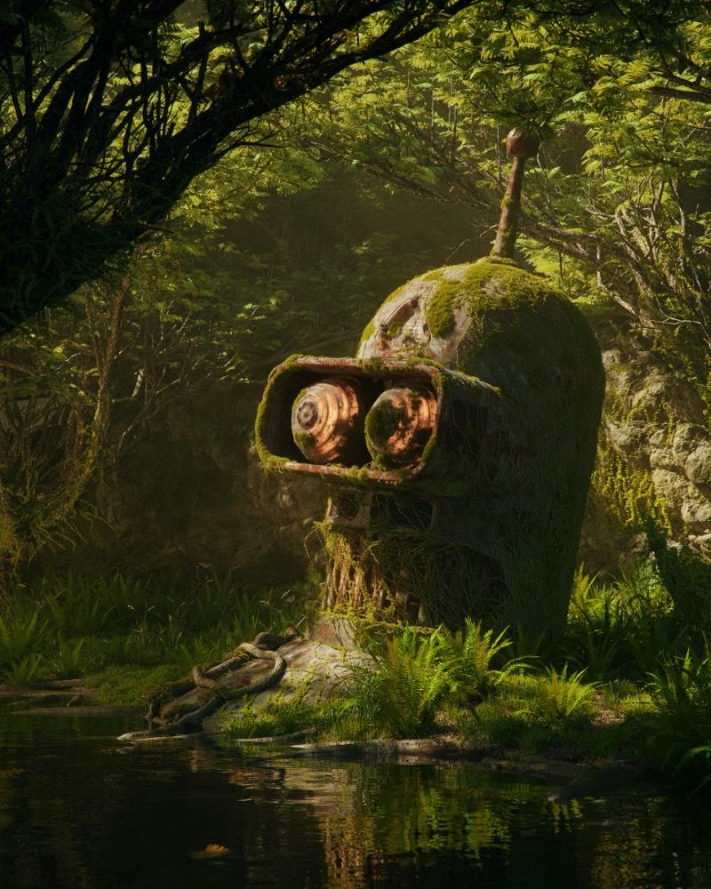 Imagine um mundo onde os ícones da cultura pop digital são de verdade. Um mundo onde o Bender de Futurama existe. Um mundo onde os pixels de Space Invaders não estão presos dentro de um mundo digital. Agora, imagine que esse mundo está em ruínas e que nada sobreviveu para contar a história. Esse é o mundo criado por Filip Hodas para sua série de imagens chamade de Pop culture dystopia em inglês.