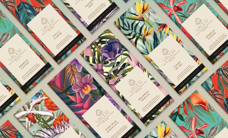 As Embalagens cheias de Ilustracoes Botânicas que a Bloombox Brand Engineers criou para a Smoor Chocolates 0