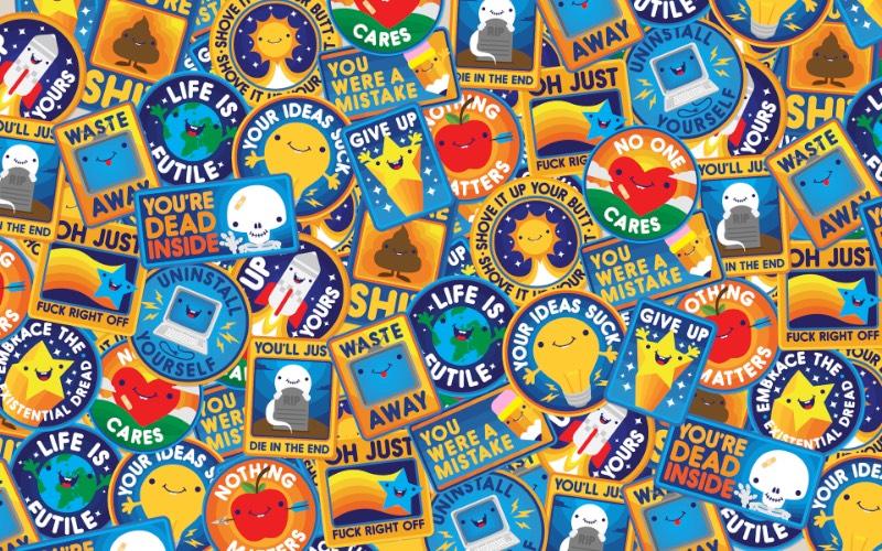 Gentle Realizations é uma série de ilustrações criadas por Jared Nickerson que mostram o medo existencial de um jeito quase fofo. E essas ilustrações se tornaram adesivos, camisetas e posters que podem decorar suas coisas de um jeito que mostra seu ponto de vista sobre a irrelevância da humanidade e de tudo que fazemos em relação ao universo em geral.