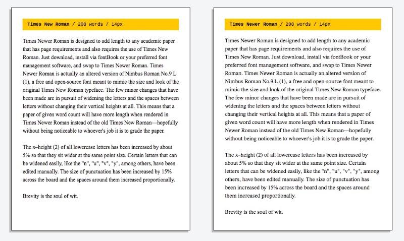 A Times Newer Roman surgiu para criar a ilusão de que o texto que você escreveu é mais longo do que ele é. Você não vai ter que improvisar pontuações maiores que o normal, margens que vem com mais espaços e qualquer outra gambiarra que você tenha pensado. Essa fonte é a solução dos seus problemas por alguns motivos bem simples.