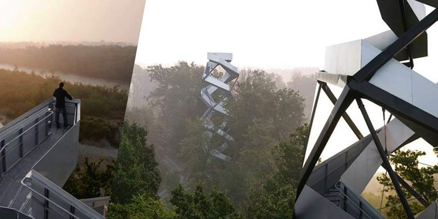This observation tower by Munich office terrain:loenhart&mayr rises over the river Mur at the Austrian border with Slovenia.