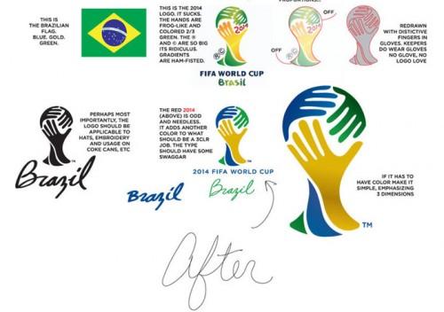 Felix Sockwell e o logo da Copa de 2014