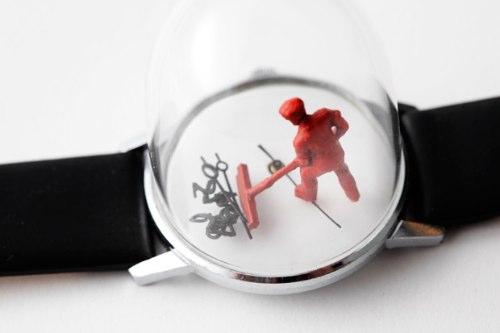 Dominic Wilcox transforma relógios em obras de arte fora do comum, utilizando dos ponteiros para criar esculturas que se movem. Se movem e se transformam em coisas diferentes quando eles se movem.