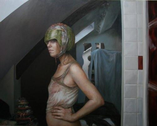 Monica Cook é uma artista que pinta com intensidade. Suas pinturas costumavam ser de, exclusivamente, figuras femininas solitárias mas, como você pode ver aqui, isso mudou um pouco. Nos últimos anos, seu estilo e sua estética evoluiu para uma exploração visual mais complexa. Com personagens diferentes e cenários que, algumas vezes, até parecem cheios de informação demais.