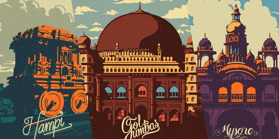 Foi com Travel Postcards and Posters que conheci o trabalho de design e ilustração de Ranganath Krishnamani. Nessa série de ilustrações, ele representa muito bem o espírito e glória da Índia. Cada ilustração aqui mostra e captura uma história do passado indiano, representando assim um pouco da herança histórica desse povo tão importante.