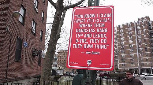 Jay Shells resolveu fazer um tributo a seus rappers favoritos e colocar as músicas que ele tanto gosta no lugar de onde elas vieram. Foi dai que surgiu o Rap Quotes e você pode ver algumas letras do rap americano pelas ruas de Nova Iorque e Los Angeles.