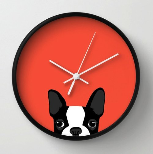 Boston Terrier Wall Clock by Anne Was Here | Society6