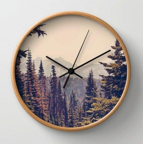 Mountains through the Trees Wall Clock by Kurt Rahn | Society6