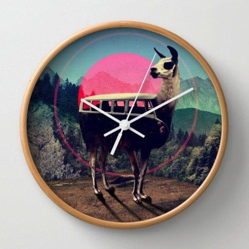 Llama Wall Clock by Ali GULEC | Society6
