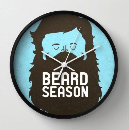 Beard Season Wall Clock by Chase Kunz | Society6