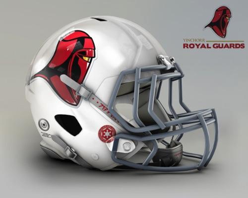 Imagine que o universo de Star Wars tenha sua própria liga de futebol americano. Agora, tente imaginar como seriam os capacetes desses times e você vai entender o trabalho que o John Raya teve na criação dessas imagens aqui.
