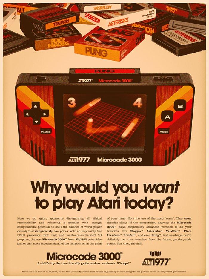 Alex Varanese viajou no tempo direto para 1977, essa é a ideia das imagens desse post. Aqui, ele resolveu explorar o absurdo conceito de que viajantes do tempo voltaram para 1977 e lançaram por lá a tecnologia que tinhamos em 2010.