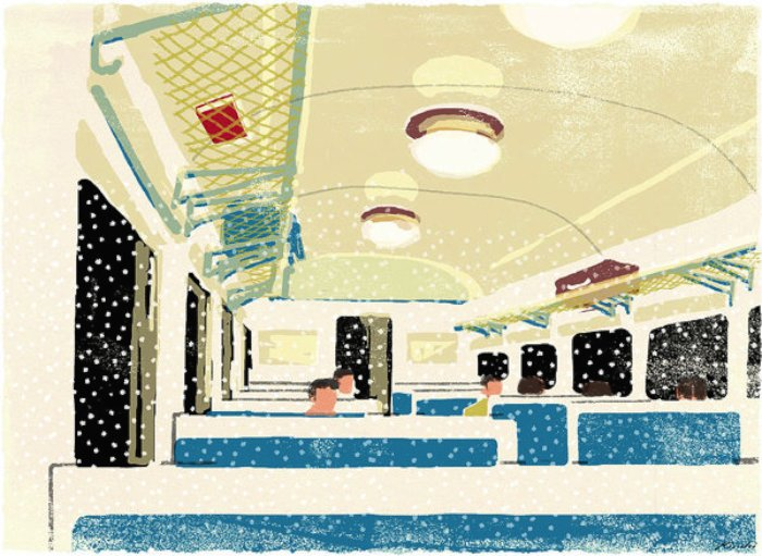 Tatsuro Kiuchi é o responsável pelas ilustrações desse post. Todas elas foram produzidas para a revista Book Travelers e tem um visual meio gasto, meio pastel, que me deixou com uma enorme vontade de viajar. Acredito que foi proposital...