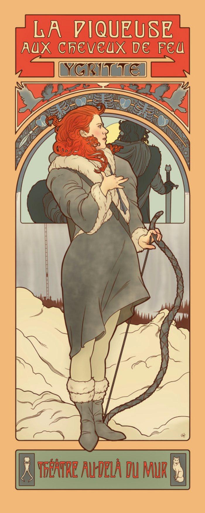 Elin Jonsson é o nome da ilustradora que teve a ótima ideia de misturar o estilo art nouveau super decorado do Alphonse Mucha com as personagens principais de Game of Thrones, a melhor série de tv da atualidade. E, ela fez isso de um jeito bem interessante e usando todas as possibilidades do art nouveau. Tenho certeza de que teria um poster desse na minha sala só para me lembrar de que a quarta temporada está chegando ao fim.