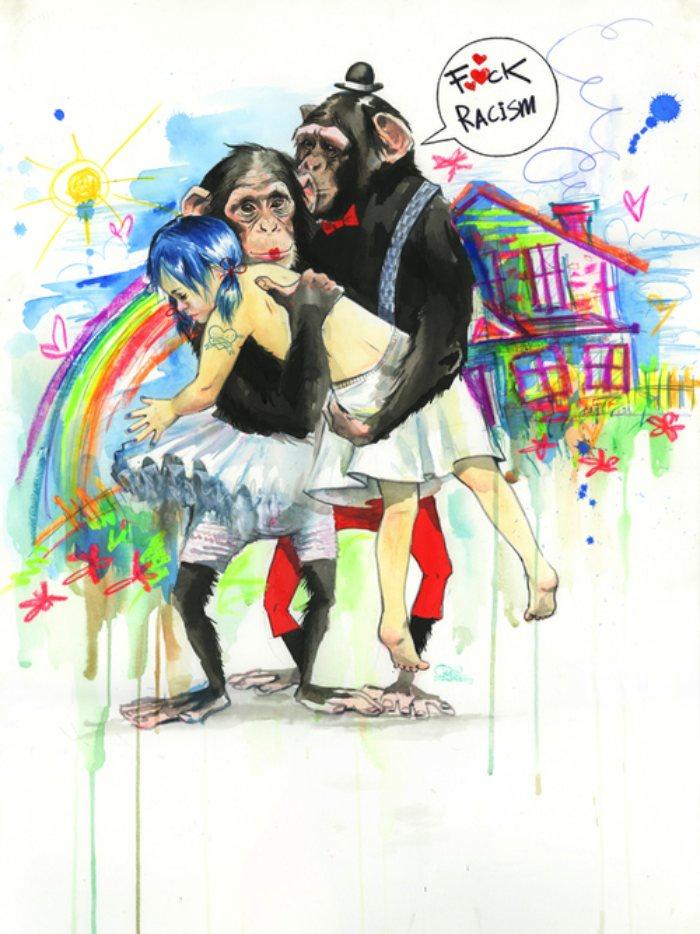 O que eu gosto nas ilustrações e pinturas da Lora Zombie, é como ela usa de diferentes elementos para criar imagens complexas. A maioria das imagens que ela cria tem um visual quase caótico que ela organiza de um jeito que guia seus olhos pelos pequenos detalhes. Seja essa uma ilustração para o Suicide Girls ou uma crítica ao McDonalds.