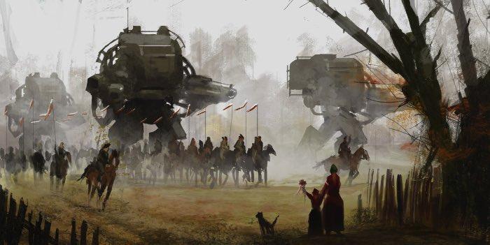 Jakub Rozalski é um artista polonês que resolveu imaginar como que a Guerra entre a Polônia e a União Soviética de 1919 - 1921 seria caso robôs gigantes fossem inseridos no meio disso tudo. E o visual disso tudo ficou fenomenal devido a mistura de uma presença agrária com o tamanho colossal de seus robôs. Para o artista, essa série é mais do que apenas uma forma de usar de sua criatividade para criar algo especial, aqui ele quer usar de sua arte para demonstrar seu orgulho de ser polonês.