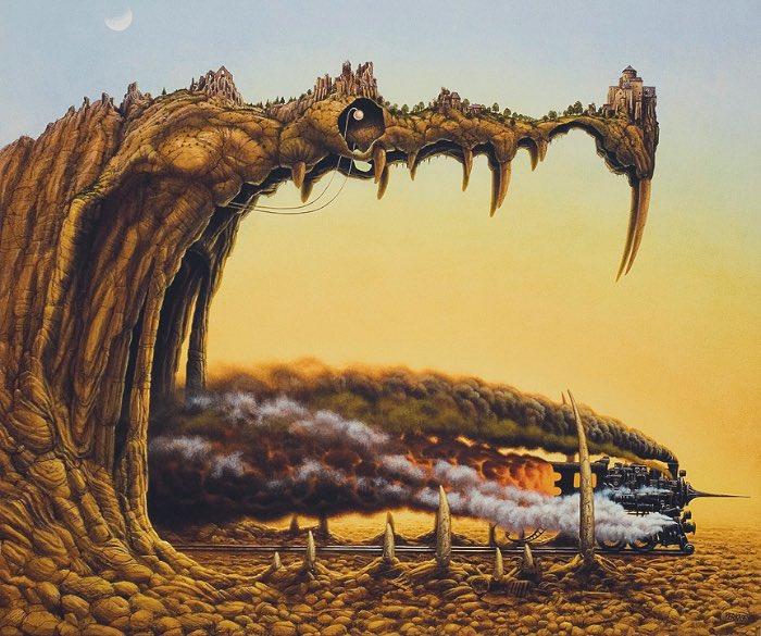 O artista polonês Jacek Yerka cria imagens totalmente lisérgicas. Suas ilustrações vão de monstros que escondem sua real função passando por pinturas multi facetadas que pegam todas as laterais de um quadro.