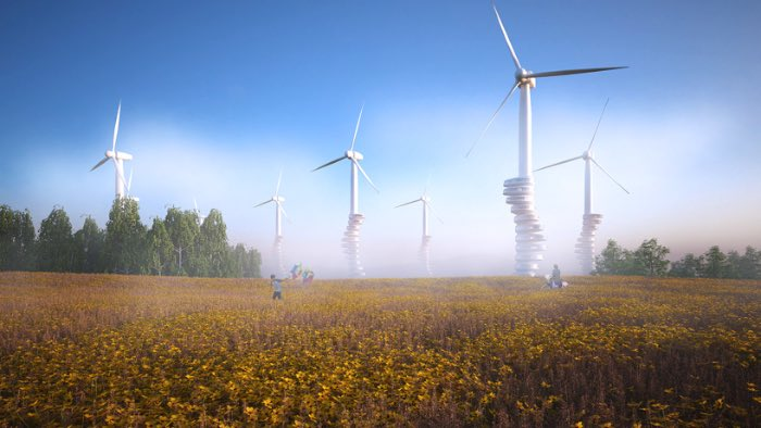 Wind Pecker é um projeto arquitetônico do design alemão Goetz Schrader. Nesse projeto ele tenta visualizar como seria possível usar das inúmeras fazendas de energia eólica que temos na Alemanha como prédios residenciais.