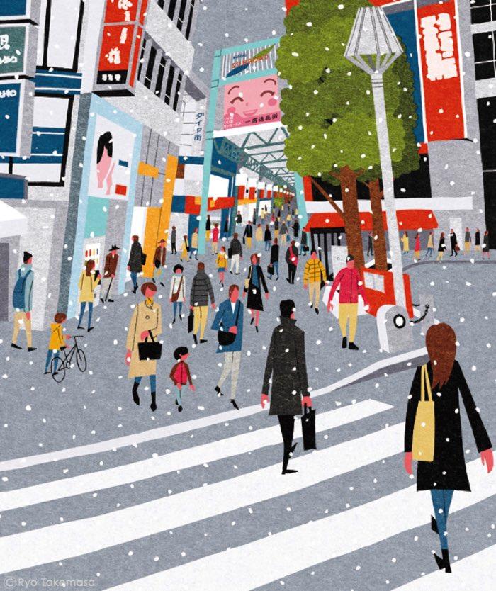O ilustrador japonês Ryo Takemasa é adepto de um estilo visual vibrante e de uma estética inocente que parece muito o visual dos livros de criança dos anos 50. Tudo bem que muitos ilustradores usam esse estilo para criar cenários e contar histórias mas, acredito que, nenhum deles trabalha com perspectivas como ele.