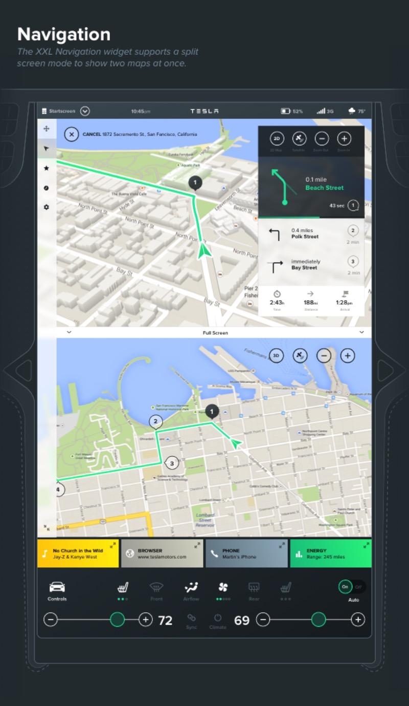 Inspirados pela tela de 17 polegadas que vem em todos os Modelos S da Tesla, o estúdio de design interativo Bureau Oberhaeuser resolveu arriscar como seria o design das novas gerações de interfaces para automóveis. A ideia era usar a atual interface e trabalhar um pouco mais no grid e em como o sistema poderia funcionar.