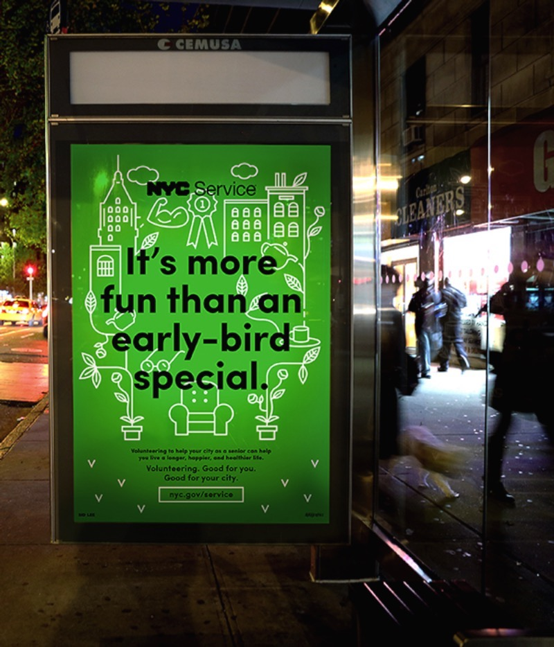 Good for you good for your city é uma campanha que surgiu da necessidade de atrair mais pessoas para voluntariar seu tempo e trabalho para a NYC Service. O conceito aqui é criar uma forma quase egoísta de mostrar que você também ganha algo quando se oferecesse como voluntário.