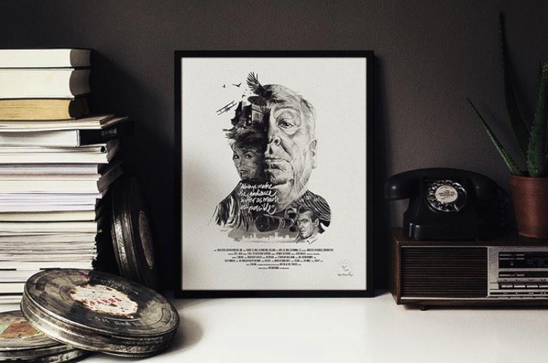 O ilustrador Julian Rentzsch criou uma série posters para famosos diretores de cinema, como Alfred Hitchcock, Martin Scorsese e David Lynch.