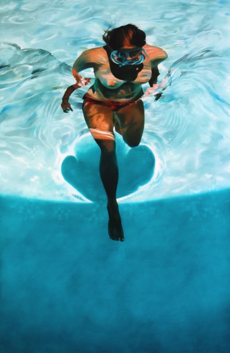 Sarah Harvey é uma artista que pinta cenários sub aquáticos tão realistas que me deixaram com vontade de ter uma piscina no quintal de casa.