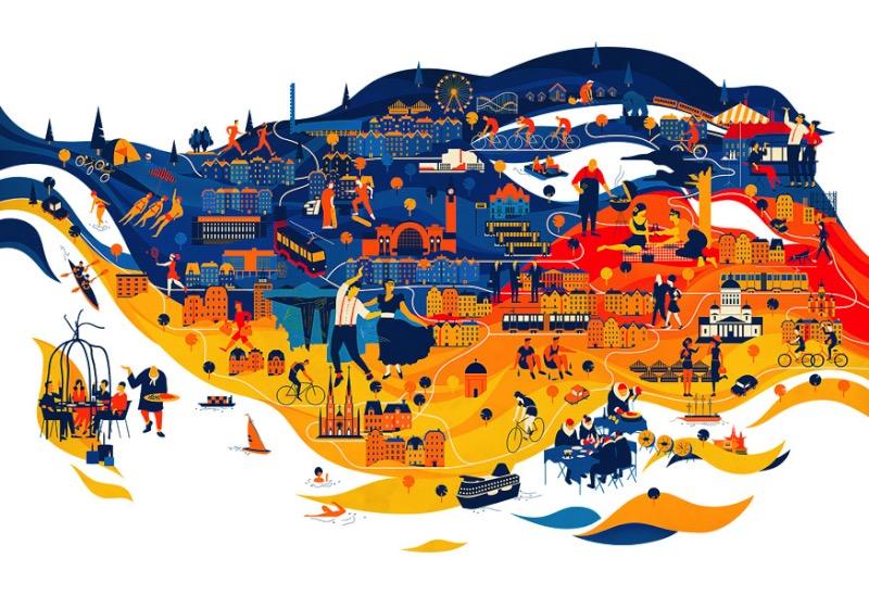 Vesa Sammalisto é um ilustrador finlandês cujo trabalho é fenomenal. Seu trabalho tem um estilo único e fez com ele trabalhasse com clientes como Sony, Twitter, Cartoon Network, Esso, Google, Penguin Books, Qatar Airways, Monocle e a revista Wired.