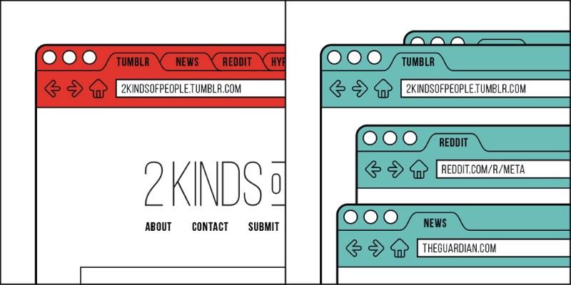 2kindsofpeople.tumblr.com é um site que prova de forma simples de que existem apenas dois tipos de pessoa
