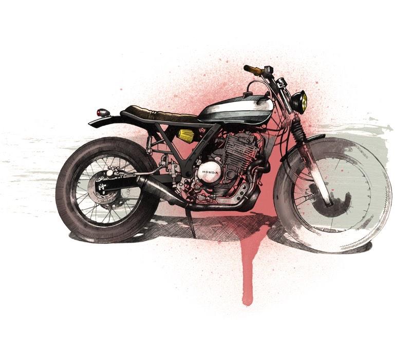 Cafe Racer Project é um projeto pessoal do Oscar Llorens, ilustrador espanhol baseado em Madrid. Aqui ele resolveu juntar duas de suas paixões em um lugar. Foi assim que ele combinou seu amor por ilustração com motocicletas.