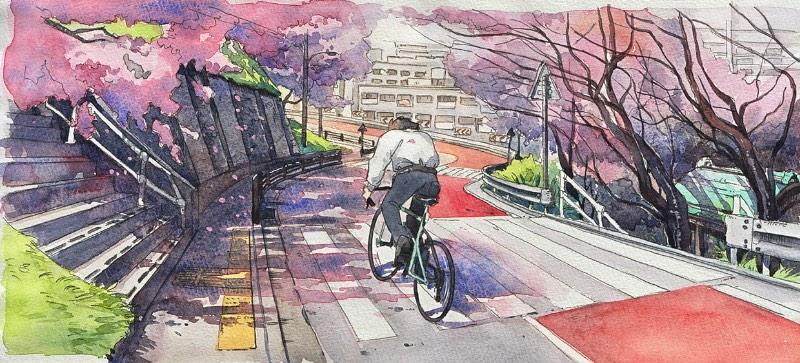 Bicycle Boy começou como um projeto divertido para o ilustrador Mateusz Urbanowicz. Ele se sentiu inspirado pelo trabalho de animação do Studio Ghibli no filme Whisper of the Heart e resolveu arriscar algumas aquarelas. Parece que a primeira ilustração desse projeto repercutiu tão bem online que ele resolveu criar essa série com 10 imagens que contam a história de um garoto andando de bicicleta, fazendo de tudo para atingir seu objetivo no final do dia.