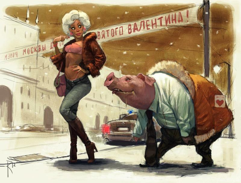 As ilustrações digitais do artista russo Waldemar von Kazak chamam a atenção pelo seu surrealismo e pelo seu comentário social. E esse comentário muitas vezes chega a ser controverso mostrando tensão sexual e bizarros personagens feitos para chamar a atenção de uma audiência.