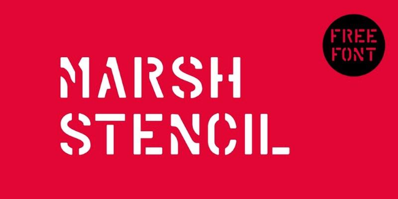 A fonte gratuita da semana da vez é a Marsh Stencil do Guilherme Schneider. Essa fonte usa de referência uma antiga fonte stencil criada pela empresa americana Marsh Stencil Machines durante a Segunda Guerra Mundial.