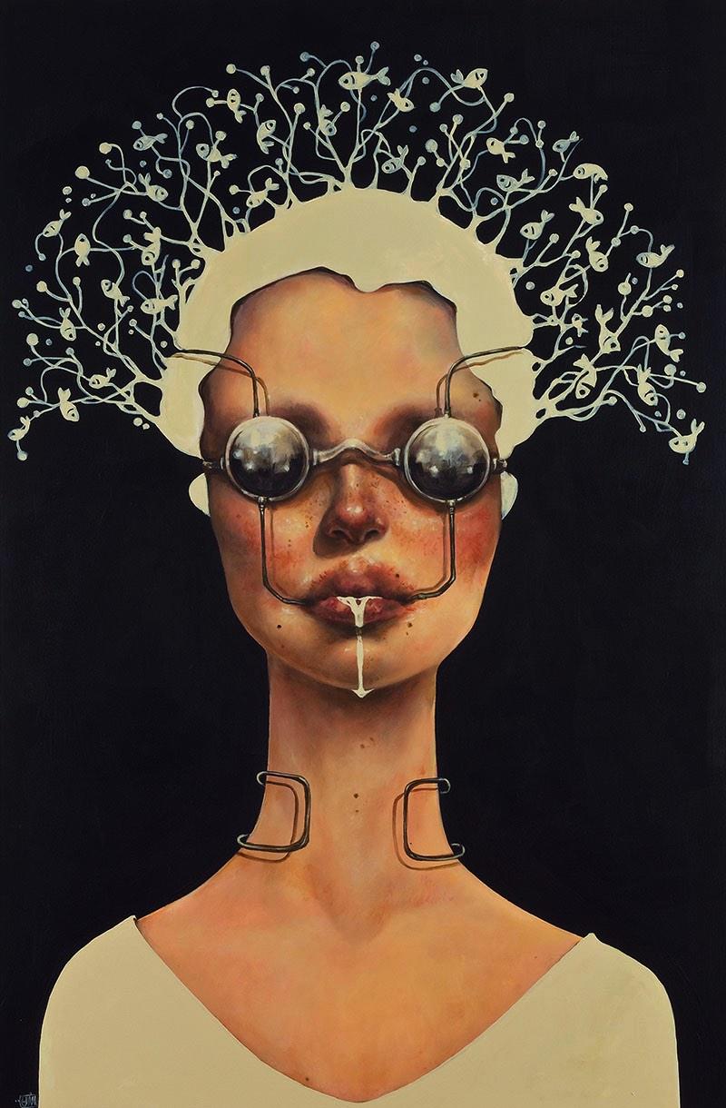 Afarin Sajedi é uma artista iraniana com um portfólio repleto de retratos onde peixes parecem ser o tema recorrente. Tentei descobrir o porquê disso no about do seu site mas fracassei e ainda estou pensando sobre o assunto.