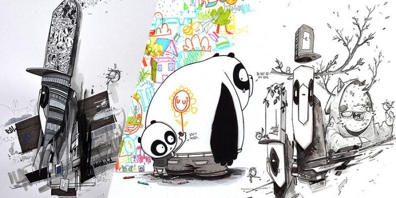 As ilustrações que você vai ver logo abaixo fazem parte de um projeto colaborativo chamado A3. Aqui, os ilustradores Monsta Julien, Mlle Terite e Ant do Pandakroo trabalharam juntos para uma exposição nas Ilhas Reunião. Tudo aconteceu em setembro de 2015 na SoHype. No momento que me deparei com esse projeto no Behance, sabia que precisava publicar algo aqui.
