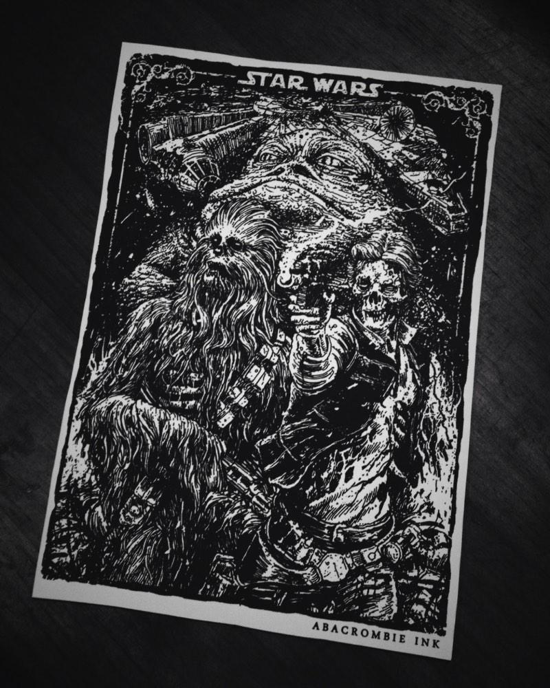 Hugo Silva, mais conhecido pelo mundo como Abacrombie INK, é um ilustrador paulistano com um portfólio fenomenal que inclui dezenas de ilustrações para bandas de hardcore e metal. Isso sem ignorar todos os trabalhos que ele publica por ai com foco em Star Wars e outras histórias de ficção científica do cinema.