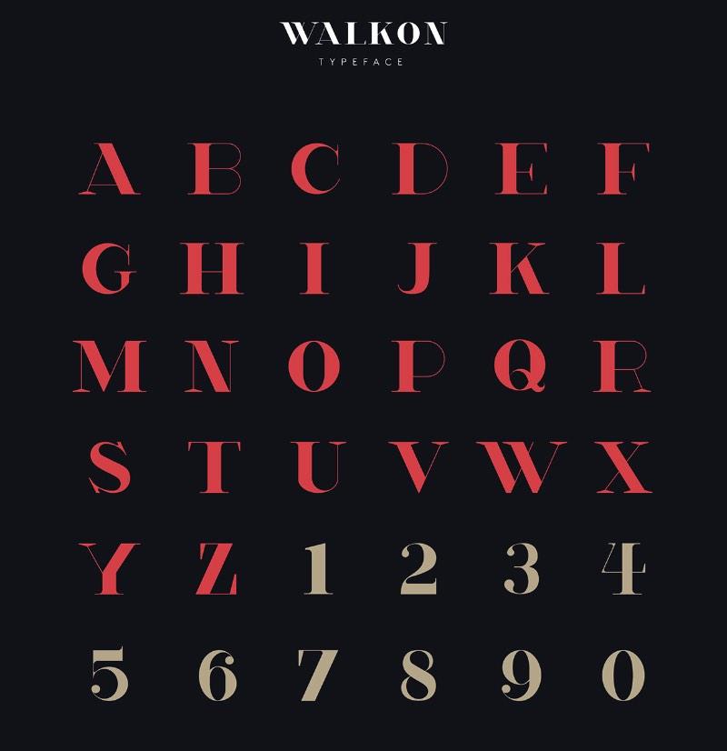 WalkOn é uma fonte criada pelo designer Hanson Chan como fonte corporativa para a marca de moda Wang & Lynch. A inspiração veio do Art Deco e Art Nouveau porém, com um apelo mais contemporâneo. WalkOn foi criada para ser usada em títulos e em conteúdos editoriais e você pode fazer o download da fonte no link abaixo.