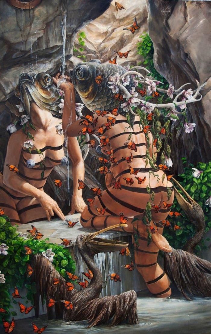 As pinturas de Hannah Faith Yata mostram uma miríade de conceitos políticos que vão desde a degradação ambiental até temas de injustiça moral e passando pelo feminismo. Tudo isso é mostrado através de cenas de uma natureza quase caótica onde mulheres semi nuas aparecem com cabeças de peixes como se essas máscaras escondessem algo ainda mais estranho.