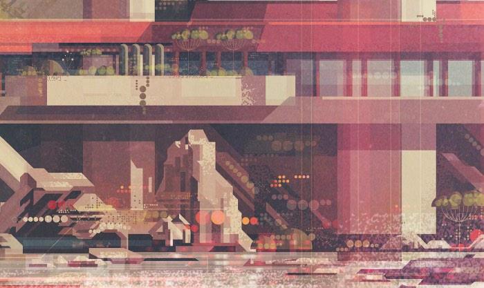 As ilustrações que você vai ver abaixo são paisagens geométricas criadas pelo artista britânico James Gilleard. Nessas imagens ele parece criar paisagens através de um filtro setentista que transforma tudo em algo geométrico e saudosista. Aparentemente, esse é um estilo visual novo que o ilustrador anda explorando e fico feliz de ver ilustradores experimentando com novos visuais e produzindo material de tão boa qualidade.