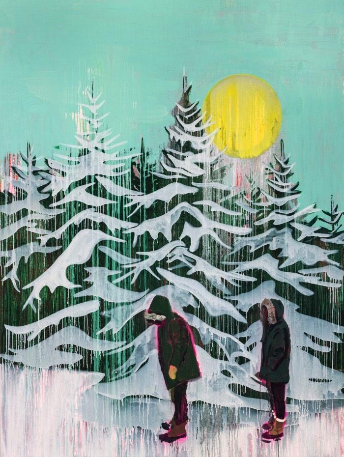 Kim Dorland supera as fronteiras da pintura através de uma exploração de memória, material, identidade, lugar e nostalgia. Sua referência visual é a paisagem canadense e seu apetite por história e por uma nova linguagem. Ele se recusa a ficar preso a apenas uma forma de produzir sua arte e você pode ver isso muito bem na natureza de suas pinturas. Algumas vezes, os quadros são cobertos por tinta acrílica, outras vezes é tinta de spray. E suas experimentações não ficam só por ali.