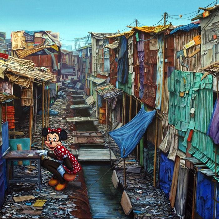 Jeff Gillette é um artista cujas pinturas seguem uma estética que analisa e estuda os padrões visuais e a estruturas criadas pelos seres humanos. Mas seu foco não é a arquitetura das grandes cidades, repletas de prédios cobertos de vidro e casa com varandas e vasos de plantas. Seu foco é outro: as favelas da América do Sul e da Índia. Para o artista, existe algo caótico e desesperador na aparência desses locais e é essa honestidade crua que transformaram esses locais no foco do seu trabalho.