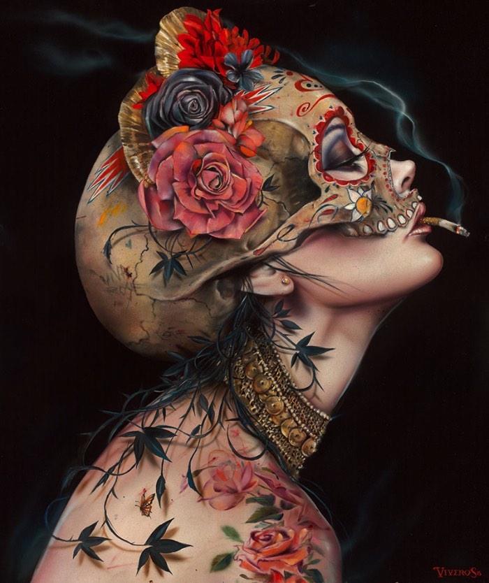 É fácil reconhecer o traço e o estilo visual de Brian Viveros afinal, suas pinturas mostram figuras femininas com olhares desafiantes que parecem capturar uma sensação quase poética de desafio. Essas figuras femininas são de uma beleza bárbara que capturam todo seu poder de uma feminilidade conciliada com vulnerabilidade e poder.