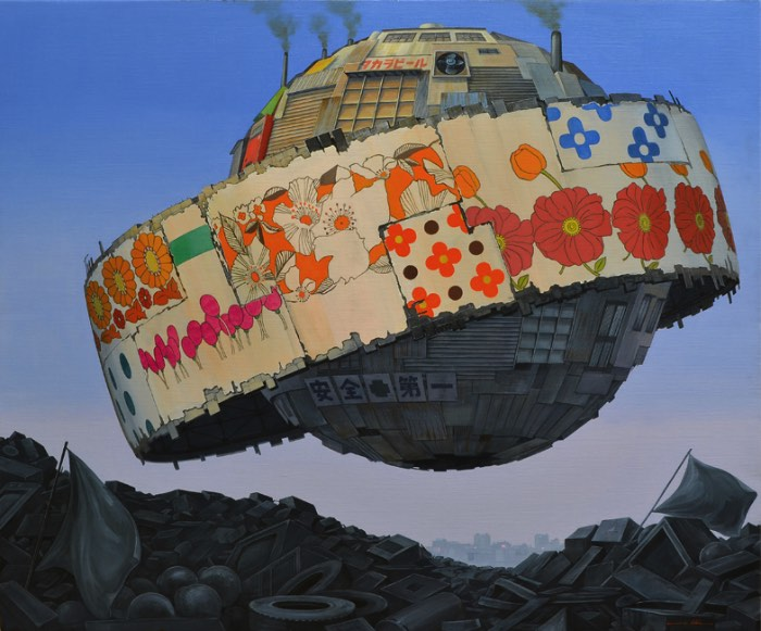 É na cidade japonesa de Kanazawa que Masakatsu Sashie cria suas pinturas e parece que a cidade é um ponto importante na criação de seus trabalhos. Tudo isso devido a rica história da cidade quando se trata de artesanato e sua cultura única, causada pelo isolamento geográfico da região. É nessa realidade que o artista observa a industrialização japonesa e todos os seus danos e custos.