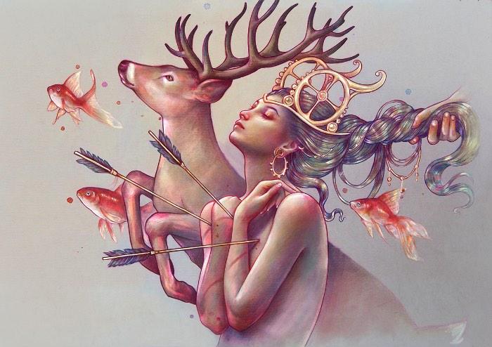 Marta Adán é uma ilustradora espanhola baseada em Castellón de la Plana cujo trabalho é voltado para figuras femininas. Figuras essas que aparecem em ilustrações bem coloridas e feitas a mão.
