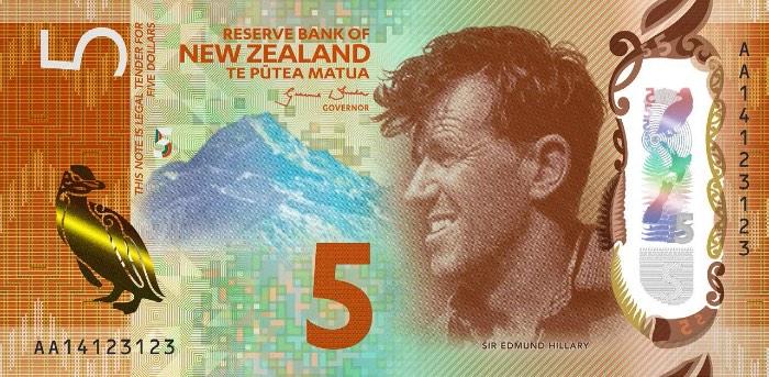 A International Bank Note Society acabou de premiar a Nova Zelândia pela beleza da sua nota de $5 feita de polímero. O design dessa nota mostra o rosto do montanhista Sir Edmund Hillary e também mostra o Mount Cook e um pinguim impresso em tinta metálica, que acabou deixando o visual dessa nota um pouco engraçadinha.